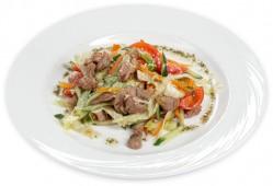 Салат теплый со свиной шейкой