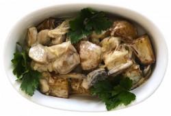 Картофель тушеный с белыми грибами в сливках